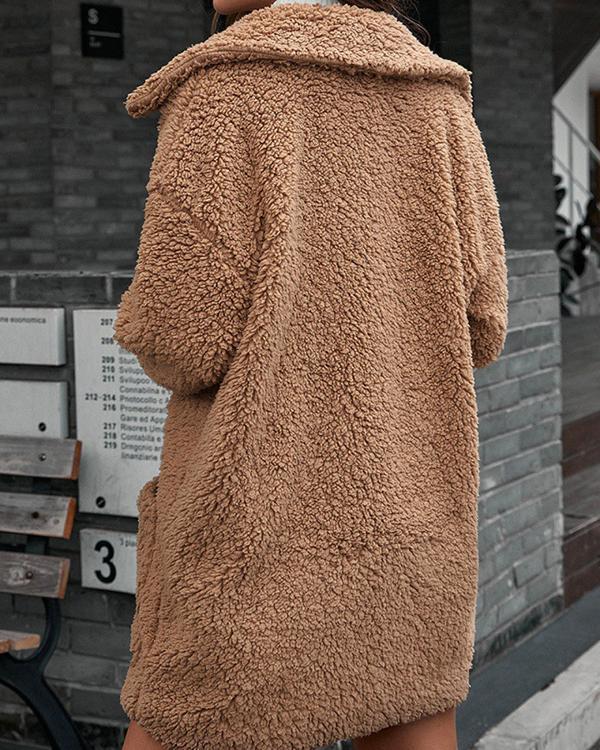 Casual Loose Fluff Lapel Coat