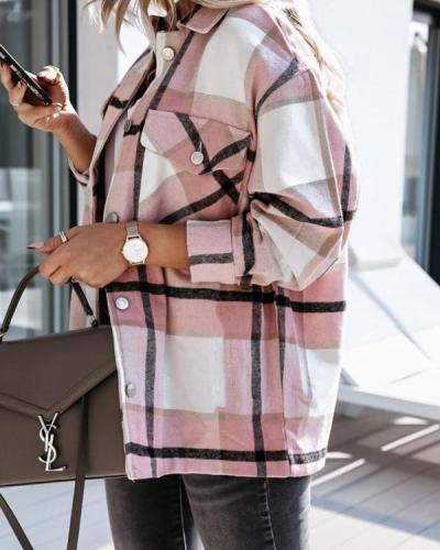 Women's Long Sleeve Plaid Shirt Outerwear