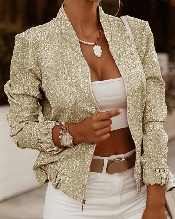 Shiny Zip Long Sleeve Cardigan Jacket
