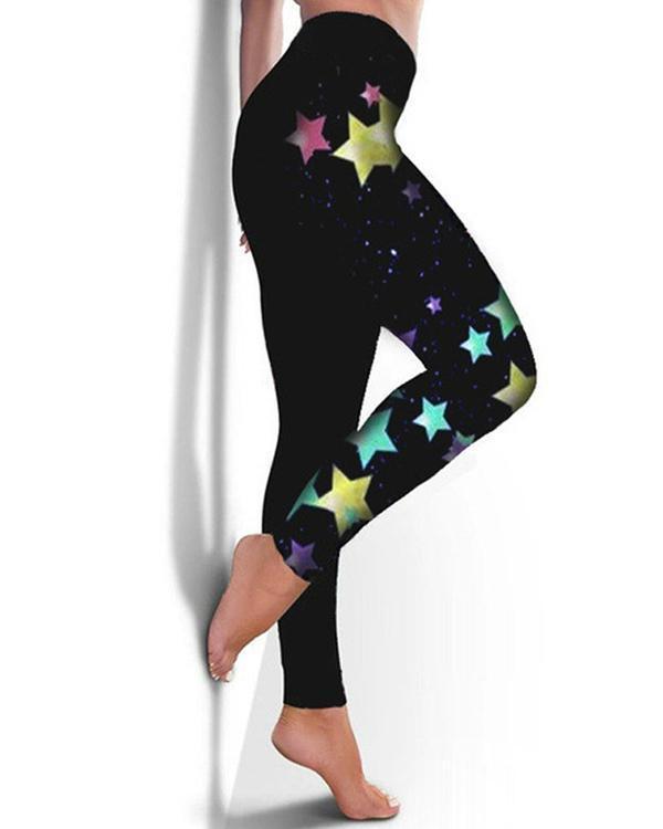 Women Fashion Print High Waist Leggings
