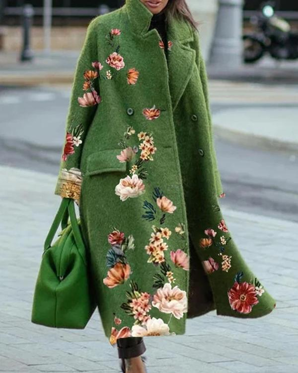 Vintage Print Long Sleeve Casual Outwear