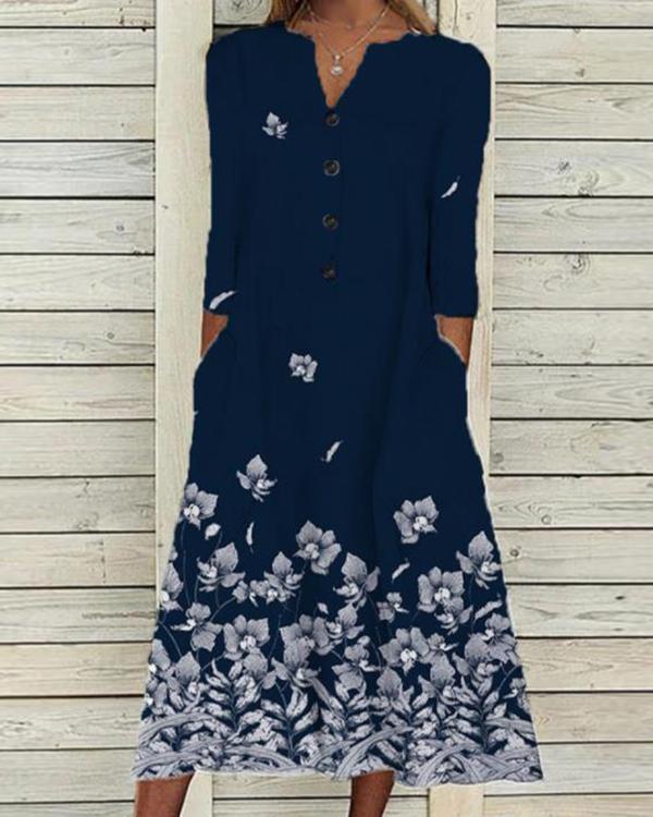 Fashion Printed Loose Long Sleeve Long Dress