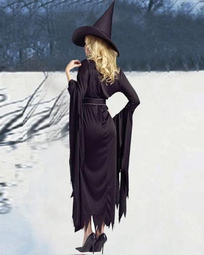 Halloween Elasticity Irregular Sawtooth Hem Dress Witch Costume 3PCS Outfit