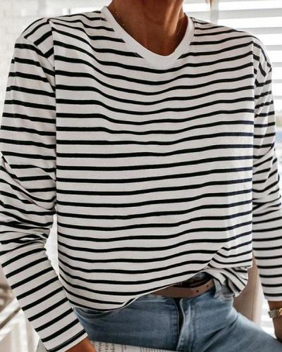 Crew Neck Stripe Daily Pullover Top