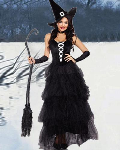 Elegant Halloween Layered Tulle Dress Witch Costume 5PCS Outfit