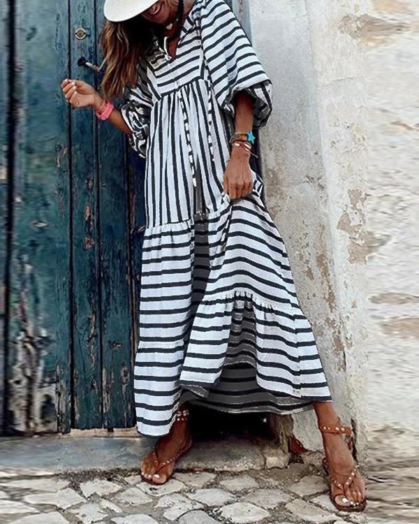 Striped Lace Up Lantern Sleeve Maxi Dress