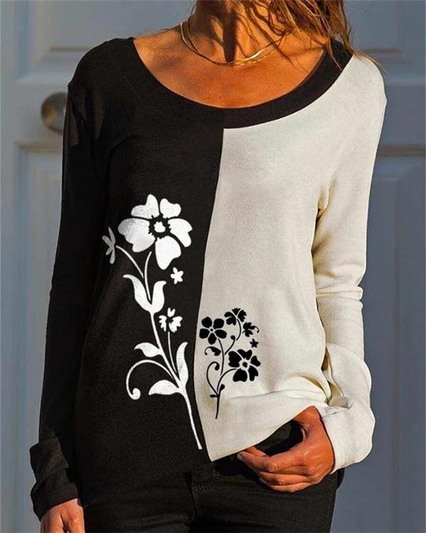 Loose Contrast Print Long-sleeved T-shirt