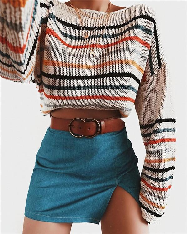 Rainbow Sweater Stitching Loose Fashion Sweater