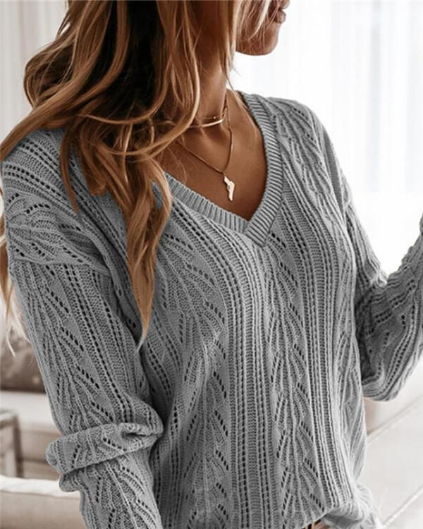 Vertical Pattern Hollow Knit Sweater Sweater Top