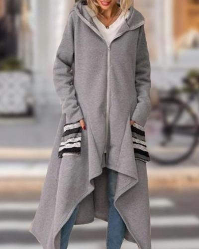 Irregular Hem long Trench Coat