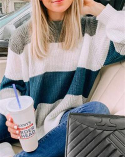 Autumn and Winter Knitted Crew Neck Sweater