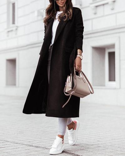 Long Sleeve V-neck Tie Woolen Coat
