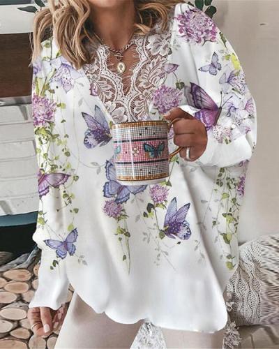 V-neck Lace Stitching Printed Loose Shirt