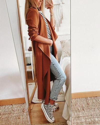 Fashion Casual Solid Color Mid-length Jacket