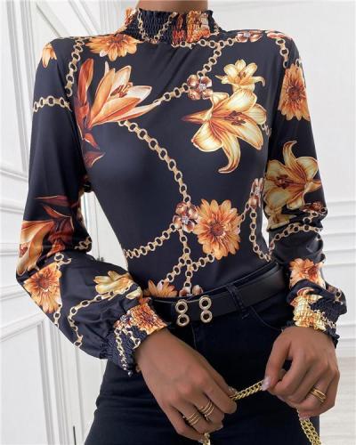 Printed Half-high Collar Long-sleeved Bottoming Shirt