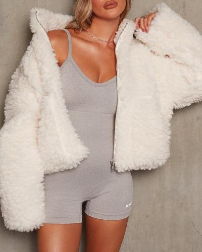 Solid Loose Stand Collar Plush Polar Fleece Zipper Coat