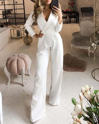 Long-sleeved Slim Solid Color Jumpsuit