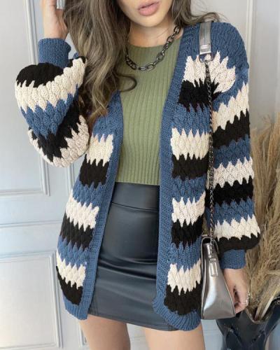 Women's Stripe Fashion Sweater Cardigan