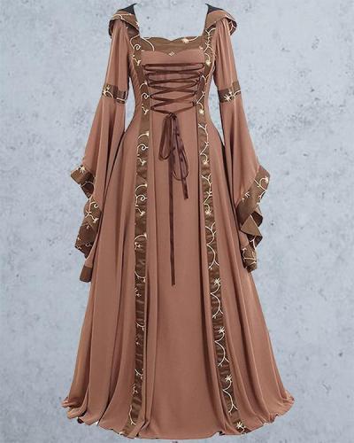 Halloween Retro Square Neck Lace Flared Sleeve Dress