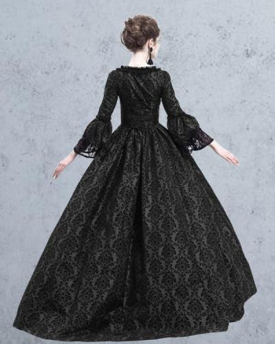 Halloween Lace Stitching Big Flared Sleeve Dress