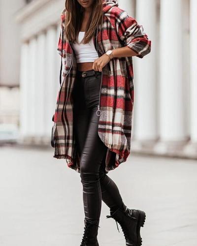Trend Forecast Plaid Hooded Coat