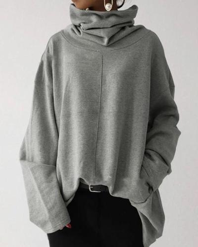 Loose Casual High-neck Pullover Solid Color Fleece Pocket Sweatshirt