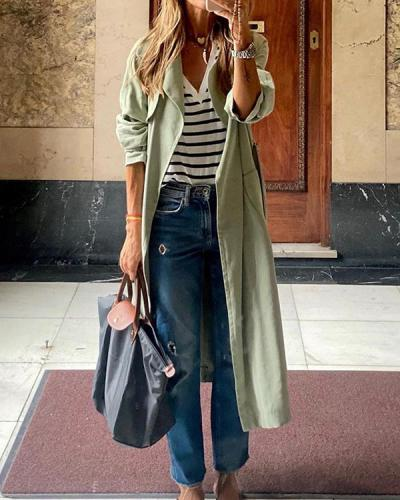 Pure Color Casual All-match Mid-length Women's Jacket