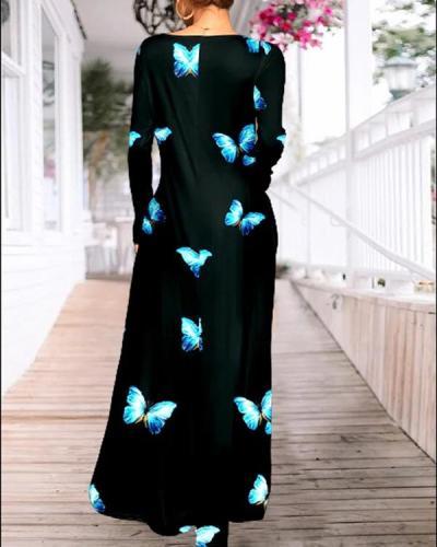 Casual Dresses Black & Aqua Blue Butterfly Pocket Long Sleeve Maxi Dress