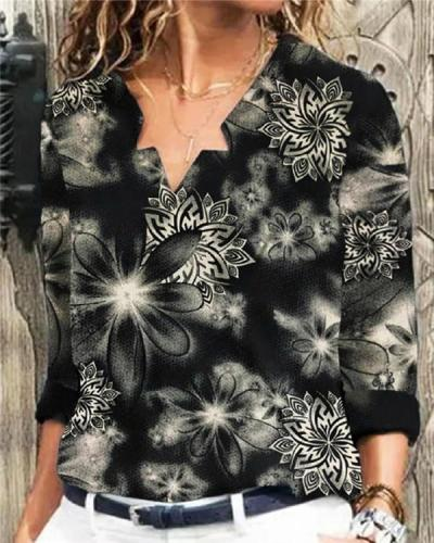 Casual Fashion Printed Long-sleeved T-shirt