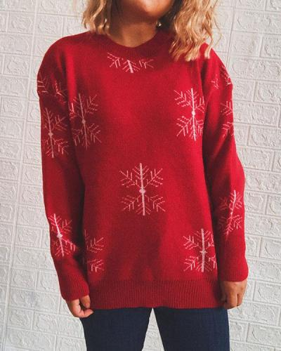 Christmas Elk Bell Snowflake Bow Print Knitted Pullover Sweater