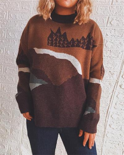 Round Neck Long Sleeve Forest Pattern Sweater Pullover
