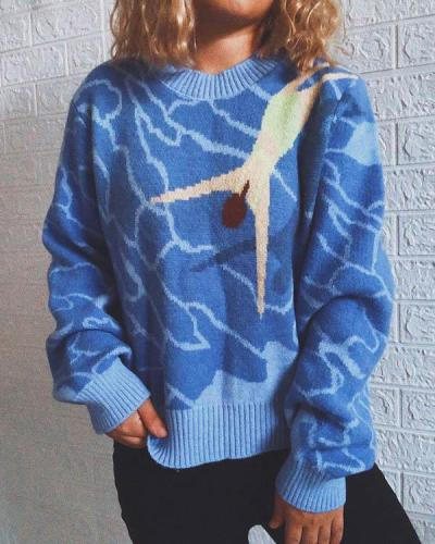Casual Ocean Diving Print Knitted Pullover Sweater