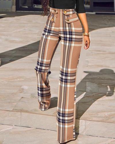 Mid-waist Plaid Skinny Pant