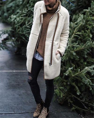 Irregular Berber Fleece Mandarin Collar Zipper Coat