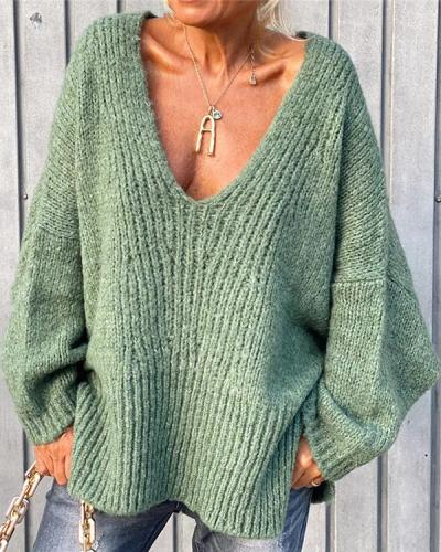 Loose V-neck Knitted Sweater