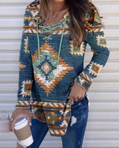 V-neck Tether Print Pullover Long Sleeves Top