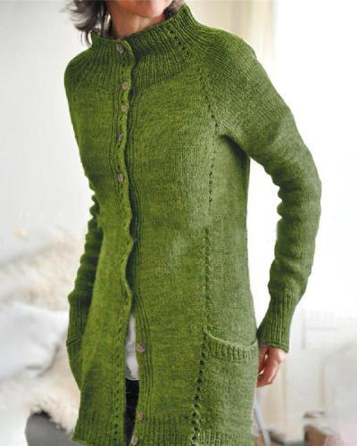 Women Double Pockets Knitting Cardigan
