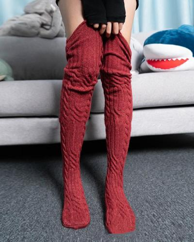 Women Crotchet Pattern Cable Knit Stockings
