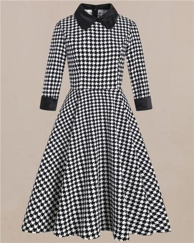 Hepburn Style Vintage British Houndstooth Dress