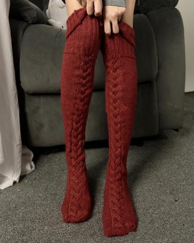 Women Cable Knit Stockings Woolen Socks