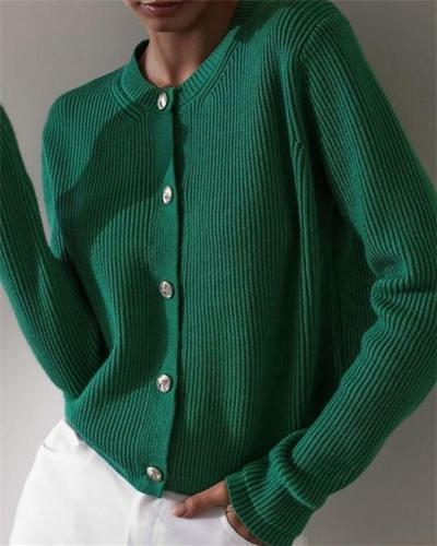 Buttoned Long Sleeve Crew Neck Sweater