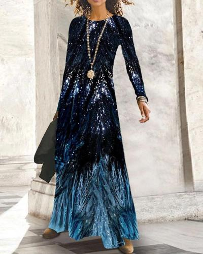 Print Long Sleeves Casual Maxi Dresses