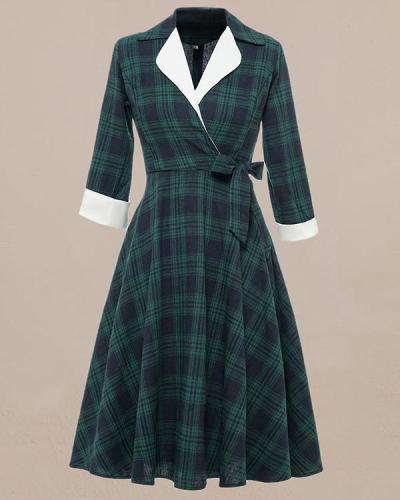 Vintage British Green Check Plaid Dress