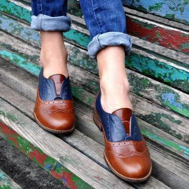 Plus Size Color Block Oxford Shoes Casual PU Slip On Loafers