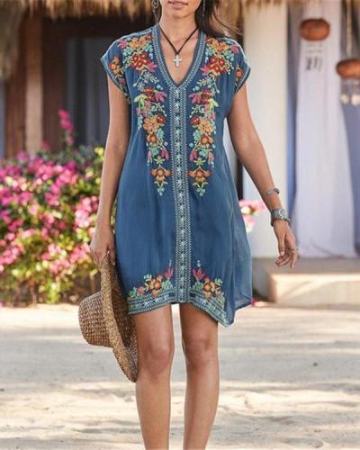 Plus Size Bohemian Embroidery V Neck Mini Dress