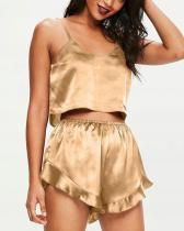 Satin Cami Frill Short Pyjama Set