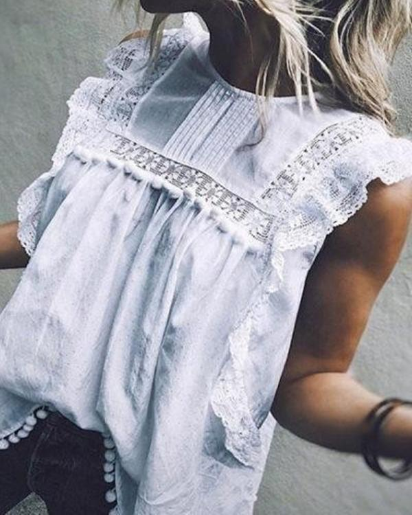 Fashion Crew Neck Sleeveless Hollow Solid Blouses Tops
