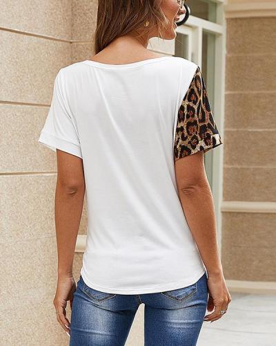 V Neck Short Sleeve Stitching Pattern T-Shirt