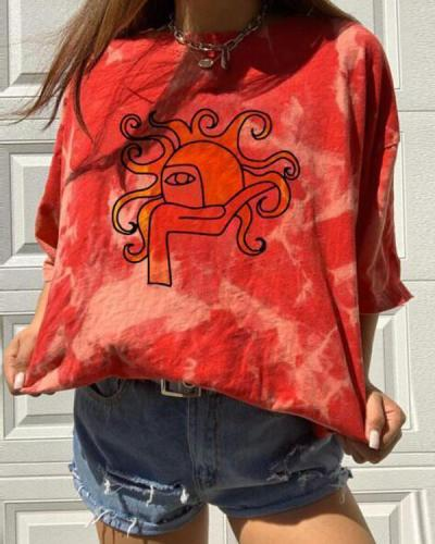 Casual Short Sleeve Sun Printed Tie Dye T-Shirts