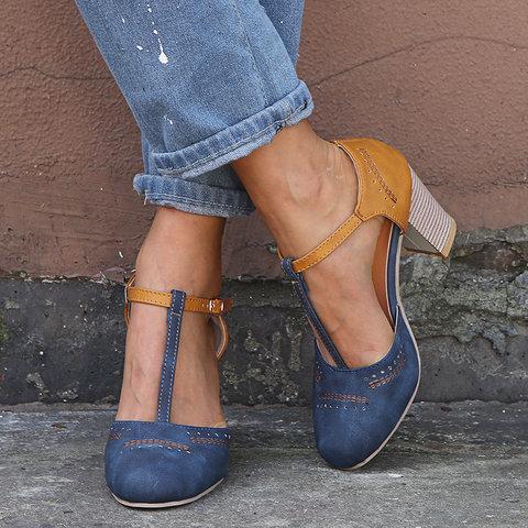 Women Vintage Color Block Sandals Casual Chunky Heel Buckle Sandals Shoes